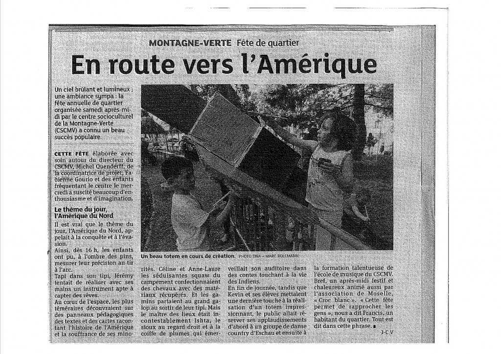 Article fête de quartier - DNA 13 Juin 2014